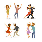 collection of couples dancing tango, twist, disco clubbing and romantic dance