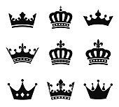 Set of 9 crown vector silhouette symbols.