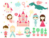 Vector collection of cute fairy-tale characters - prince, princess, knight, mermaid, unicorn, dragon, fairy, castle. In retro pastel colors. EPS8