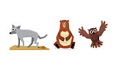 Collection of cute geometric forest animals, wolf, bear, owl bird vector Illustration isolated on a white background.