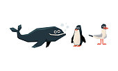 Collection of cute geometric marine animals and birds, whale, penguin, seagull vector Illustration isolated on a white background.