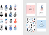 Collection of cute pineapples with templates of cards and posters. Different hand drawn textures. Vector. Isolates