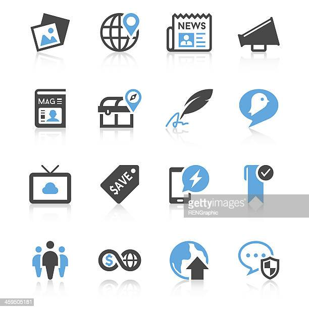 Collection of dark gray and blue social media themed icons