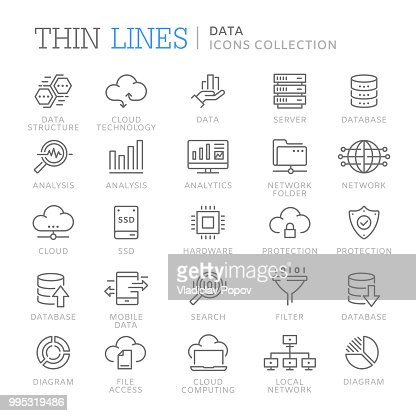 Collection of data line icons : stock vector