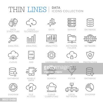 Colección de iconos de línea de datos : arte vectorial