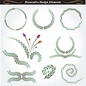 Collection of decorative and flourish elements.