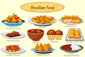 Collection of delicious Brazilian food in vector