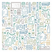 Collection of different types of household waste. Line style vector illustration