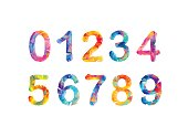Collection of digits. Geometric numbers, triangular figures. Vector