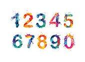 Collection of digits. Numbers, figures. Vector paint splash.
