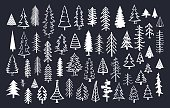 collection of doodle pine fir conifer trees in white color over dark background