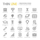 Collection of education thin line icons. Vector eps10