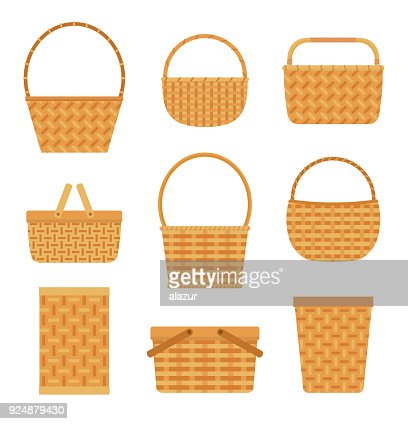 Collection of empty baskets, isolated on white background. : stock vector
