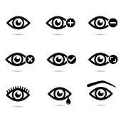 Vector illustration: eye icons isolated on white background.