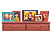 Big family relatives portrait photos frames standing on chest of drawers table top. Parents and kids relationship mementos in picture frames. Flat style vector illustration isolated on white