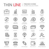 Collection of finance thin line icons. Vector eps8