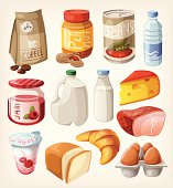 Collection of food and products that we buy or eat every day. EPS10. Contains transparancy.