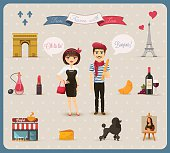 From France with Love, typical and most common used french icons with stereotype presentation of french men and french woman