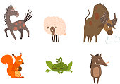 Collection of funny farm and forest animals, horse, sheep, bison, squirrel, frog, boar vector Illustration isolated on a white background.