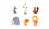 Collection of funny forest and African animals, mouse, heron, beaver, elephant, lion, giraffe vector Illustration isolated on a white background.
