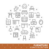 Collection of furniture thin line icons. Vector eps 8
