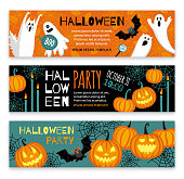 Collection of halloween banner templates. Flat style vector illustration. Cute characters. Invitations or greeting cards.