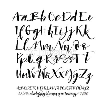 collection of hand drawn alphabet letters with numbers ベクトル