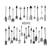Ink illustration. Isolated on white background. Set of decorative arrows. Vector design set. Hand drawn decor elements for your design.