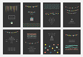 Collection of hand drawn party cards and invitations.