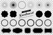 Collection of hand drawn retro sunburst, bursting rays design elements. Frames, badges.