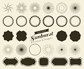 Collection of hand drawn retro sunburst, bursting rays design elements. Frames, badges.
