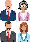 Collection of Head and shoulder business people icons isolated