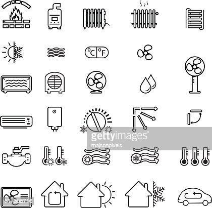 Collection of heating and cooling related icons : Arte vectorial