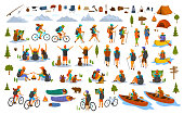 collection of hiking trekking people. young man woman couple hikers travel outdoors with mountain bikes kayaks camping, search locations on map, sightseeing discover nature graphic, isolated vector sc