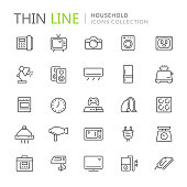 Simple Set of Household Related Vector Line Icons. Contains such Icons as camera,electric iron, telephone and more