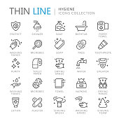 Collection of hygiene thin line icons. Vector eps 8