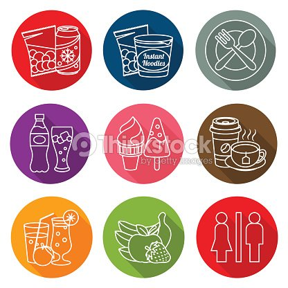 Collection of icons for information label sales of food, drink and toilet services.