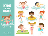 Collection of kids playing at the beach. Cartoon characters isolated on white. Funny boys and girls swimming, running, jumping, sunbathing and eating an ice cream. Set 3 of 4.