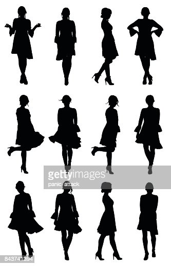 Collection of latin woman dancer silhouettes with flounce sleeves dress in different poses : Vector Art