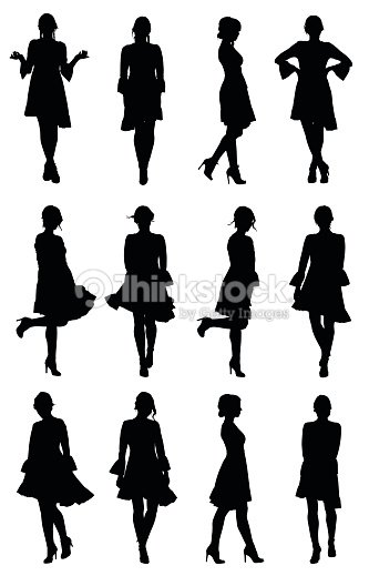 Collection of latin woman dancer silhouettes with flounce sleeves dress in different poses : stock vector