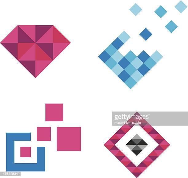 Collection of luxury royal diamond jewelry logo Pixels