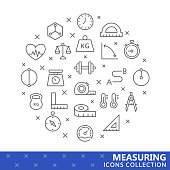 Collection of measuring thin line icons. Vector eps 8