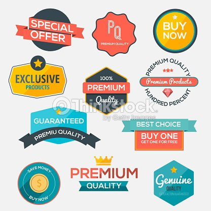 Collection of modern, flat design-styled labels and design elements :  Vector Art