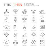 Collection of motivation thin line icons. Vector eps 8
