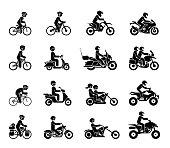 Moto vehicles symbols vector stock illustration.