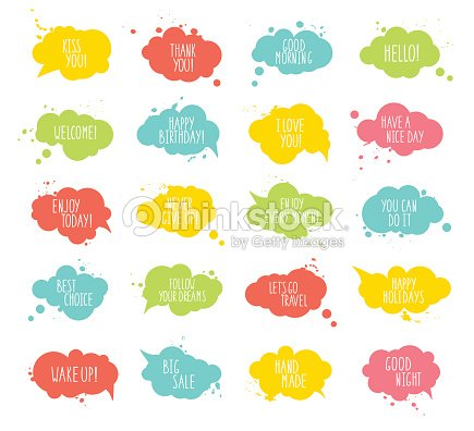 Collection Of Multicolored Templates Speech Bubbles With Spray