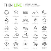Collection of nature thin line icons. Vector eps10