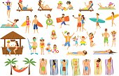 Collection of people having fun on summer vacations. Man, woman, family,couple,children relaxing, sunbathing, tan on the beach, making selfie, work on pc, drinking cocktails in seaside bar, lying on s