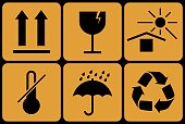 Collection of prohibitive packaging signs. Vector illustration.