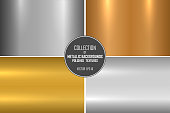 Collection of realistic metallic textures. Shiny polished metal backgrounds for your design.